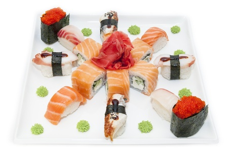 Japanese rolls in a restaurant with fish and vegetables Stock Photo - 16851702