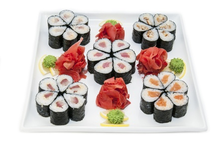 Japanese rolls in a restaurant with fish and vegetables Stock Photo - 16851711