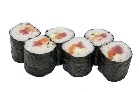 Japanese rolls in a restaurant with fish and vegetables Stock Photo - 16888209