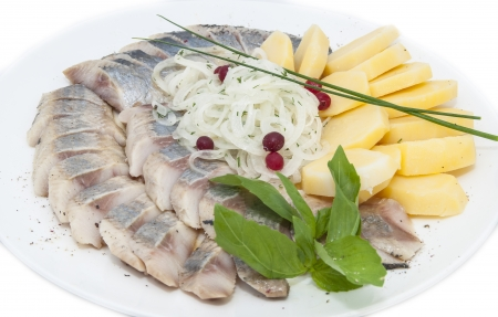 herring and potatoes on a white plate