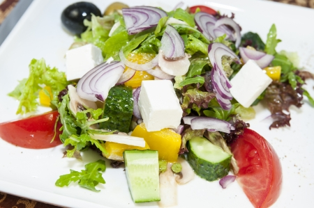 Greek salad on a table in a restaurant Stock Photo - 16936773