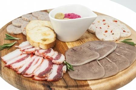 a plate of sausage and bacon on white background Stock Photo - 16981103