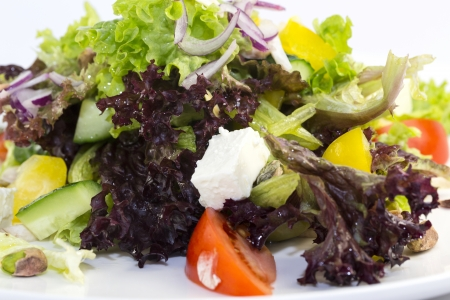 Greek salad on a white background in the restaurant Stock Photo - 17097204
