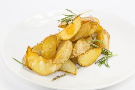 fried potatoes on a white background in the restaurant Stock Photo - 17281969