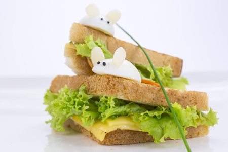 sandwich with ham and cheese, decorated eggs Stock Photo - 17440993