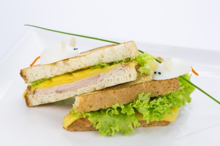 sandwich with ham and cheese, decorated eggs Stock Photo - 17440992