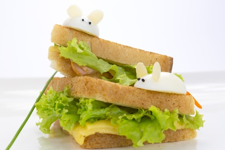 sandwich with ham and cheese, decorated eggs Stock Photo - 17441098