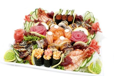 Japanese sushi fish and seafood on white background photo