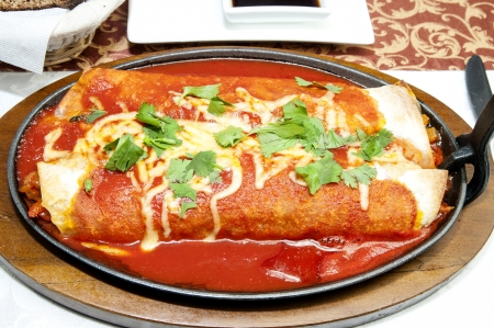 Mexican food restaurant on a white dish Stockfoto