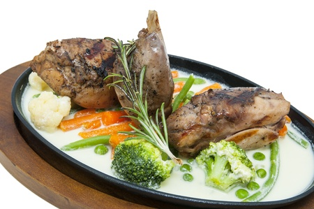 roasted rabbit meat and potatoes with vegetables Stock Photo - 17946164