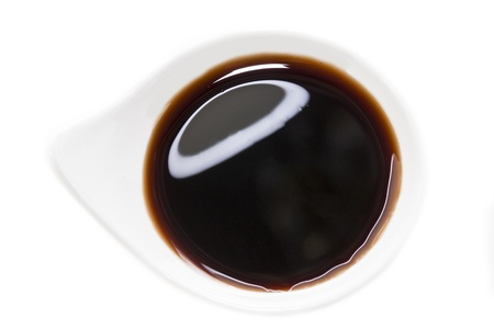 berry sauce on a white plate photo
