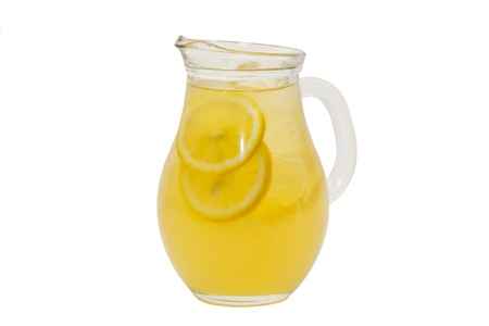 pitcher of lemonade on a white background photo