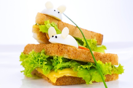 sandwich with ham and cheese, decorated eggs Stock Photo