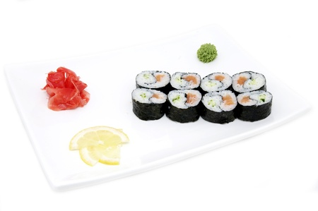 Japanese sushi seafood on a white background Stock Photo - 18929881