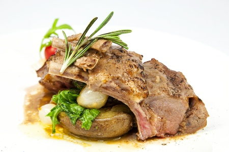 braised ribs calf in sauce with vegetables