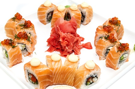 delicious seafood sushi at a Japanese restaurant photo