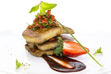 foie gras garnished with strawberries Stock Photo