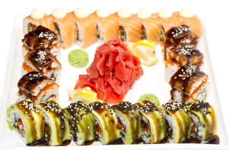 Japanese sushi seafood on a white background photo
