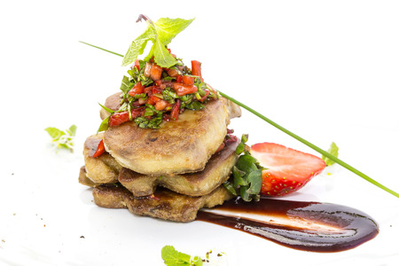 appetize: foie gras garnished with strawberries Stock Photo