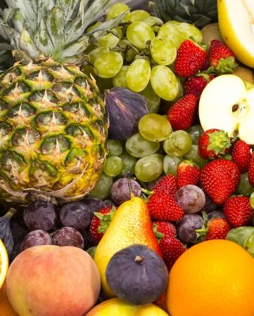 fruit background of fresh exotic fruits photo