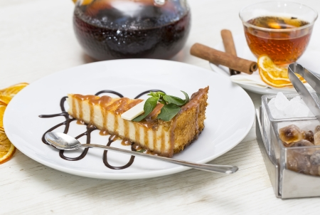 piece of cheese cake on a table in a restaurant Stock Photo - 22375647