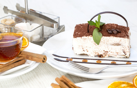 tiramisu on a table in a restaurant photo