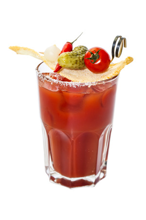 bloody mary cocktail on a white background in the restaurant