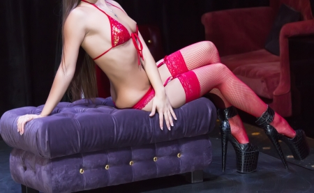 part of the body of the girl dancing striptease photo
