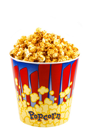 popcorn in a cardboard bucket theater, white, yellow photo