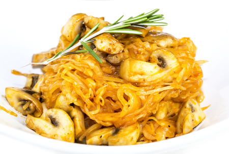 braised mushrooms: braised cabbage with mushrooms and vegetables Stock Photo