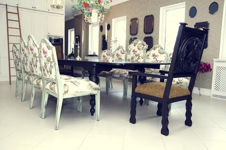 dining table and chairs: Dining table and chairs Editorial