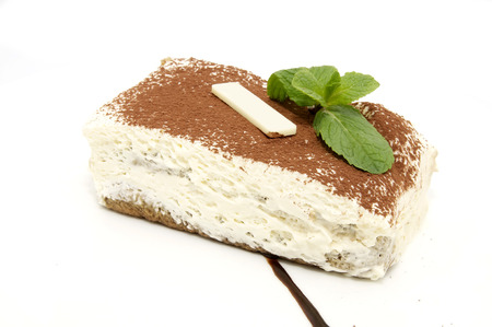 tiramisu dessert in a restaurant on a white background photo