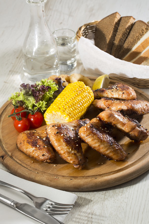 chicken wings are grilled Vegetables photo