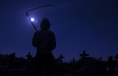 death in the cemetery at night the moon photo