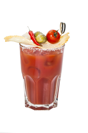 bloody mary cocktail on white background Фото со стока