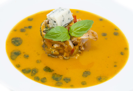 Mexican soup with vegetable puree peppers and chicken meat photo