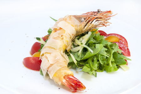 jumbo shrimp: jumbo shrimp with herbs and several types of tomatoes