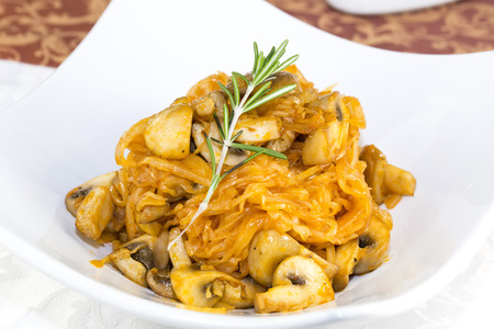 braised mushrooms: braised cabbage with mushrooms and vegetables in a restaurant