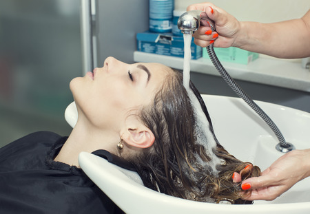 salon: woman in a beauty salon doing hair