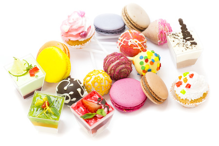 dessert, candy and cookies on a white background photo