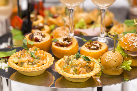 girdle: Canapes of cheese vegetables meat and seafood