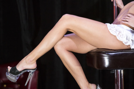 part of the body of the striptease dancing girl