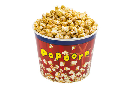 popcorn in a cardboard bucket, salty, single photo