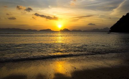 nido: sunset in the Philippines in the area of El Nido Stock Photo