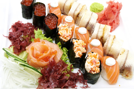 SUSHI: delicious seafood sushi at a Japanese restaurant Stock Photo