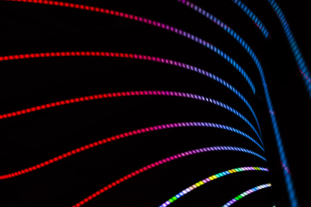 Neon abstract background of lines and bokeh photo