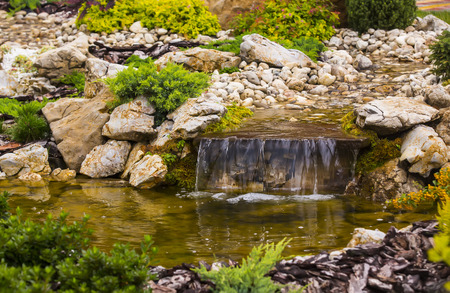 waterfall in the park in the summer on the nature Stock Photo