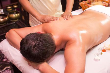 ayurvedic: people man engaged in Ayurvedic spa treatment