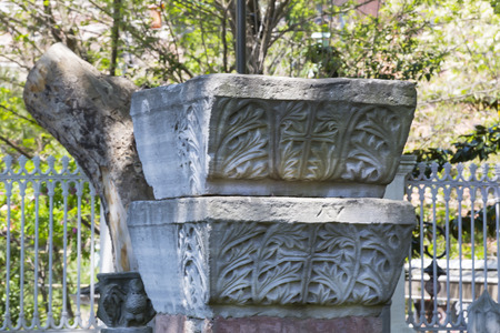 constantinople ancient: capital of marble and stone pillars of ancient Constantinople Stock Photo