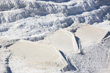 carbonates: Pamukkale white mountain in Turkey in the middle of the summer